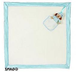 """Baby Blanket Blue and White cute soft 26"""" Brand New with tag"""