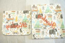 Baby Blanket Burp Cloth Set Bears TeePees Camping Can Be Per