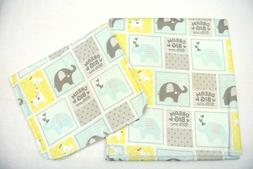 Baby Blanket Burp Cloth Set Elephants Giraffes Dream Big Lit