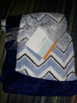 Bedtime Originals Baby Blanket Chevron Blue White Brown Plus