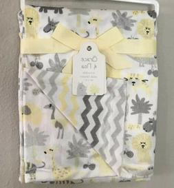 Baby Blanket Chevron Minky Safari Jungle Yellow Gray NWT