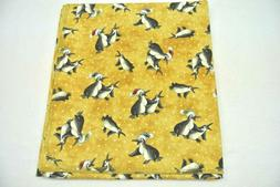 Baby Blanket Christmas Holiday Penguins Gold Polka Dot Can B