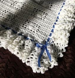 Baby Blanket Crochet Afghan  Baptism Christening White YOU C