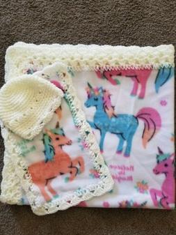 Baby Blanket Crochet Trim- Multi Color Unicorns w/ cap and b