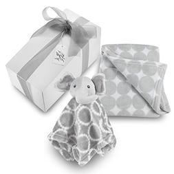Baby Blanket Elephant Gift Set - Grey Circle Coral Fleece Bl