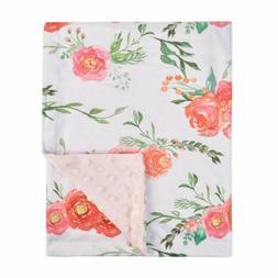 Boritar Baby Blanket for Girls Soft Double Layer Minky Dotte