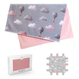 Baby Blanket for Girls | Soft Minky | Gray Pink Colors | Sec