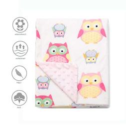 Baby Blanket for Girls Soft Minky with Double Layer Dotted B
