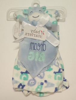 Baby Blanket Giraffe Blue Starters Set Security Boys Letters