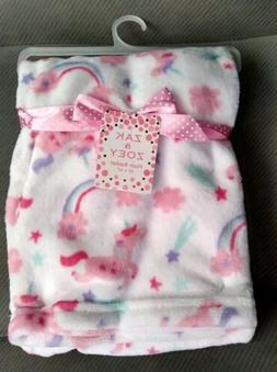 Zak and Zoey Baby Blanket Girls Unicorns Rainbows Pink White