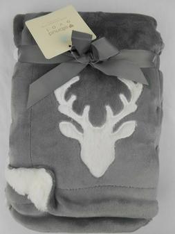 Bundle of Love Baby Blanket Gray White Deer Velvet Berber 30