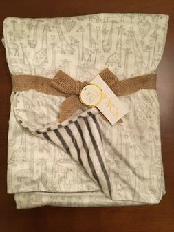 Lila & Jack Baby Blanket Ivory with Adorable Giraffes Stripe