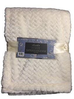 Etoile Baby Blanket Jacquard Weave Velvet Throw - Ivory