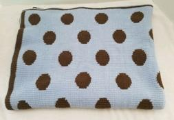 Cocalo Baby Blanket Knit Blue Brown Polka Dots