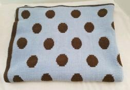 baby blanket knit blue brown polka dots