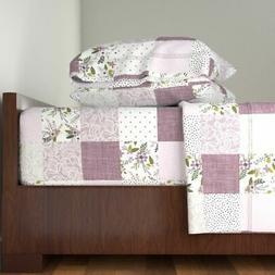 Baby Blanket Lavender Sprigs Patchwork 100% Cotton Sateen Sh