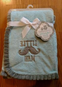 Cribmates Baby Blanket Little Man Mustache Infant Blue Gray