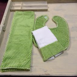 BABY BLANKET MINKY BIB BURPING DIAPER PILLOW CASE GREEN POKA