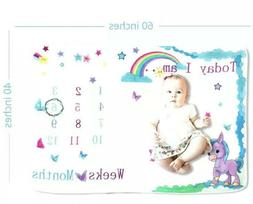 Baby Blanket Monthly Milestone 4 Girls W Unicorn Premium Sof