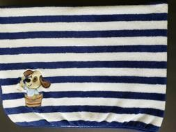 Cuddle Time Baby Blanket Navy Blue White Stripe Puppy Dog Bo
