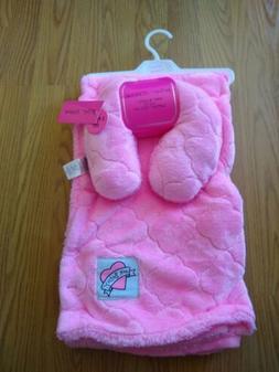 Betsey Johnson Baby Blanket Neck Pillow Set Dark Pink Heart