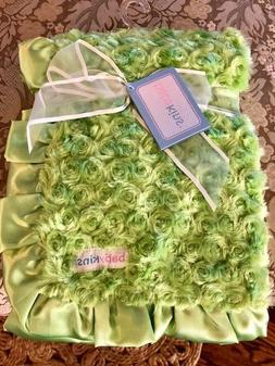 "Babykins baby blanket NEW Swirly roses Green 33"" x 34"""