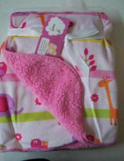 "Baby Blanket, Pink Jungle Print, By Snugly Baby, 30"" x 40"","