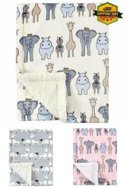 Baby Blanket Printed Mink Plush Soft Sherpa Warm for Newborn