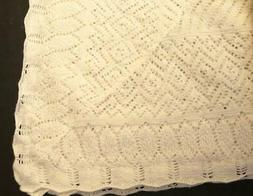 Ralph Lauren Baby Blanket Rugby Linen Lace Knit Ivory Cream
