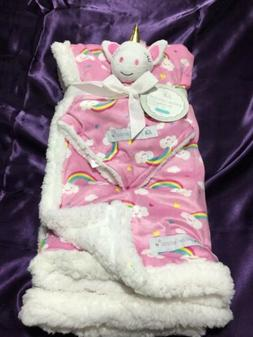 BABY Blanket Security 2 Piece Set Infant Pink Unicorn & Rain