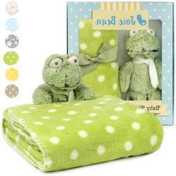 Premium Baby Blanket Set for Boys with Stuffed Animal Plush