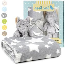 Premium Baby Blanket Set with Stuffed Animal Plush Toy | Sof