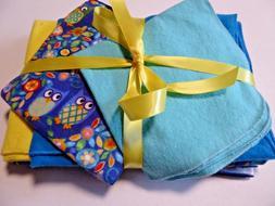 Baby Blanket sets;1 Receiving, 2 burp, & 2 wash cloths; Blue