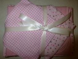 Baby Blanket sets;1 Receiving, 2 burp, & 2 washcloths; pink/