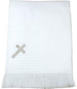 BabyPrem Baby Blanket Shawl Cross Christening Baptism Knitte