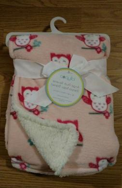 LOLLYPOP Baby Blanket Sherpa Owls Plush Reverse Pink Orange