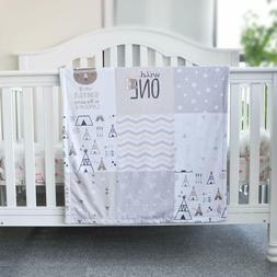 Baby Blanket Soft Minky with Double Layer Gray Arrow Dotted
