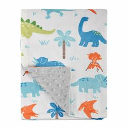 Baby Blanket Soft Minky with Double Layer Dinosaurs Multicol