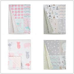 Baby Blanket Soft Minky with Double Layer  Receiving Blanket