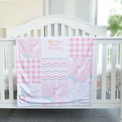 Baby Blanket Soft Minky with Double Layer Pink Unicorn Party
