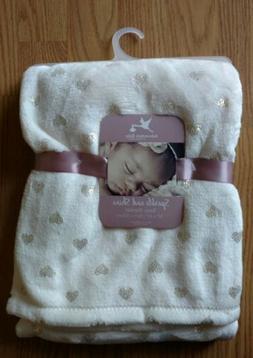 ADIRONDACK Baby Blanket Sparkle & Shine Gold Hearts Soft Inf