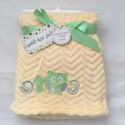 Baby Blanket w/ Cute Owl, Shower Gift Soft Infant Yellow, Bo