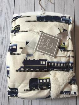 Baby Blanket Throw Lovey White Blue Green Trains NWT