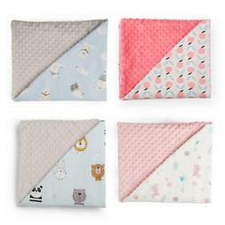 Baby Blanket with Dotted Backing Newborn Soft Minky Swaddle