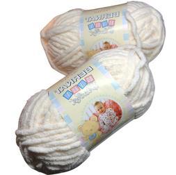 Bernat Baby Blanket Yarn Bulk Lot Vanilla 2 skeins