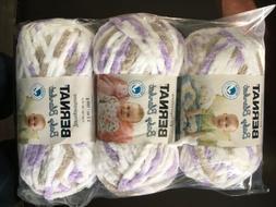 Bernat Baby Blanket Yarn Little Lila's Dove  Lot 3 Skeins