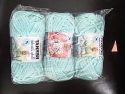 Bernat Baby Blanket Yarn Seafoam  Lot 3 Skeins Bulk lot