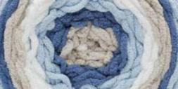baby blanket yarn stripes stonewash blues grey