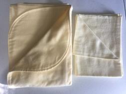"Handmade Baby Blanket YELLOW Double FLANNEL 42""x 40"" Set Bur"