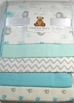 Rene Rofe Baby Blankets Blue Elephants Set of 5